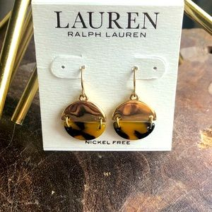Ralph Lauren gold and tortoise drop earrings